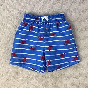 Wonder Nation Baby Boys Swim Trunks Blue Stripe with Crabs Print